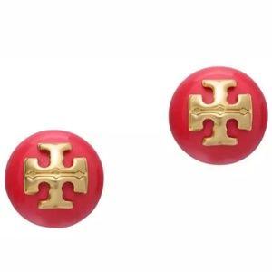 """Tory Burch """"Evie"""" Red Pearl Logo Stud Earrings"""